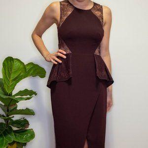 BCBG Burgundy peplum lace dress